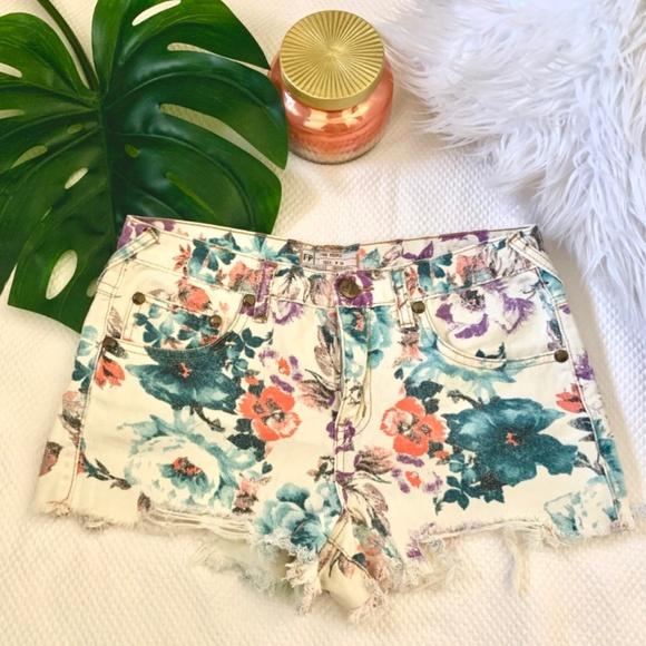 Free People Pants - Free People Floral Denim Shorts